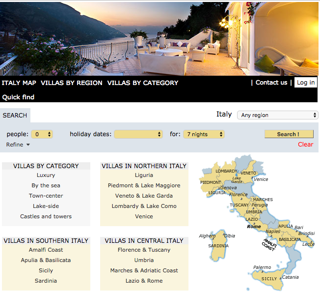 Unterkünfte in anderen Regionen Italiens