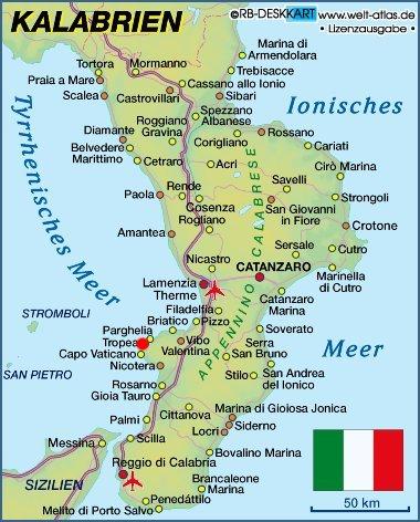 kalabrien karte