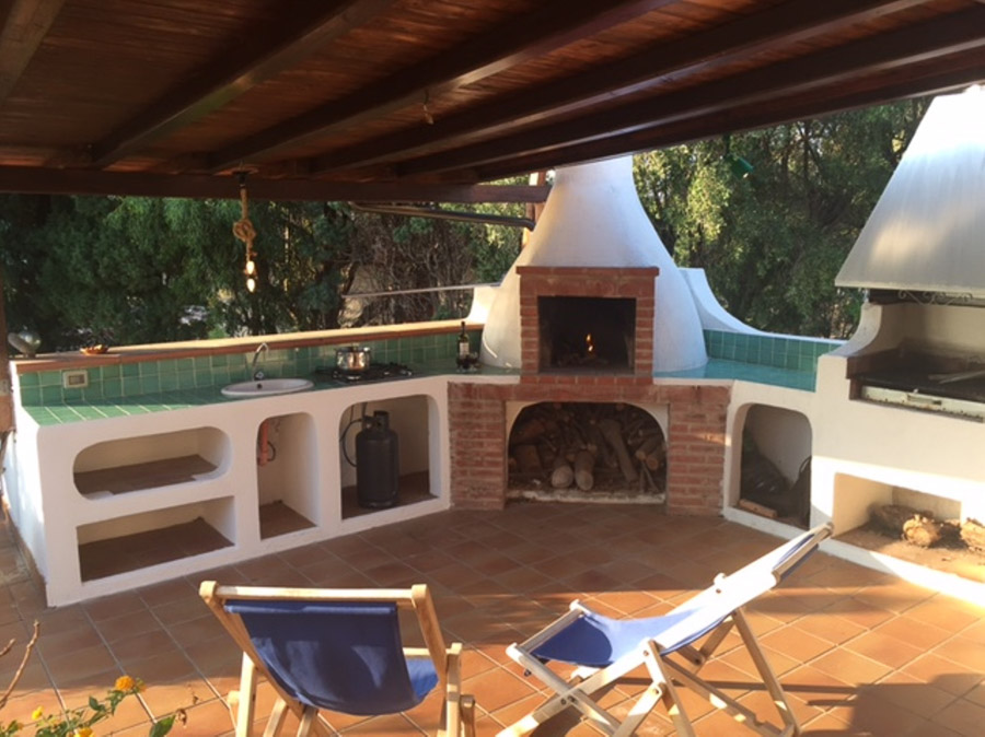 Casa Theo- Ferienhaus am Capo Vaticano mit herrlichem Meerblick - Terrasse mit Grill